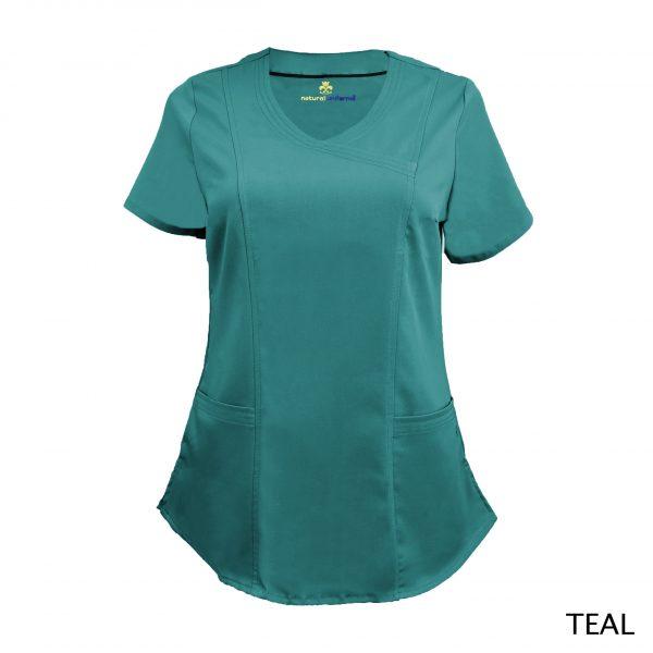 A photo of teal wrap stretch scrub top