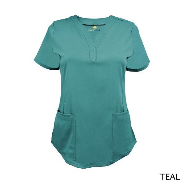 A photo of teal v-neck stretch scrub top