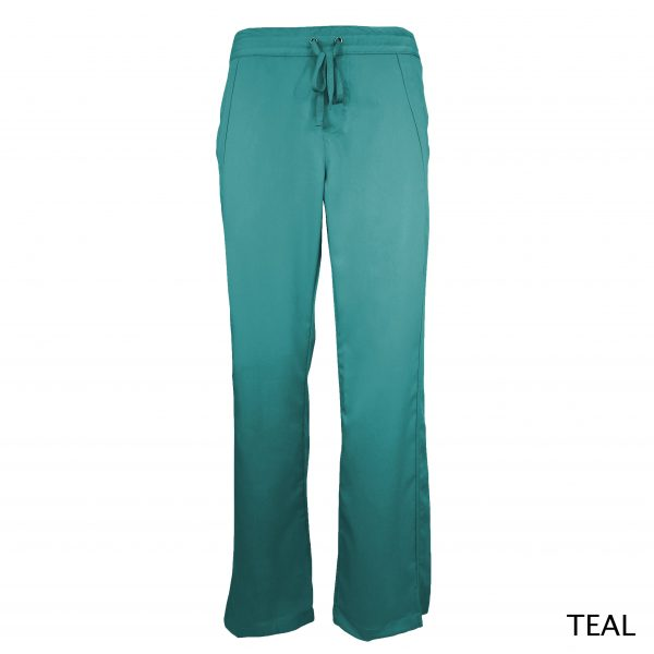 A photo of teal women drawstring scrub pants (front))