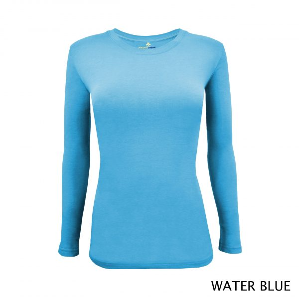 A photo of water blue women's stretchy fit shaped long sleeve t-shirt