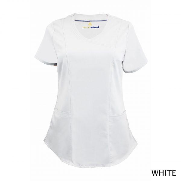 A photo of white wrap stretch scrub top