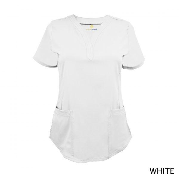A photo of white v-neck stretch scrub top