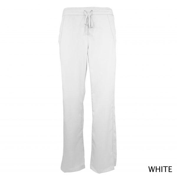A photo of white women drawstring scrub pants (front))