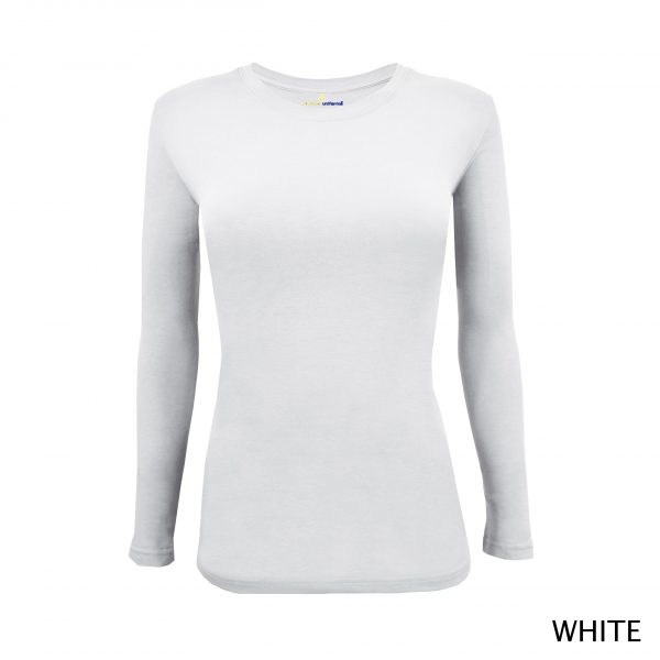 A photo of white women's stretchy fit shaped long sleeve t-shirt