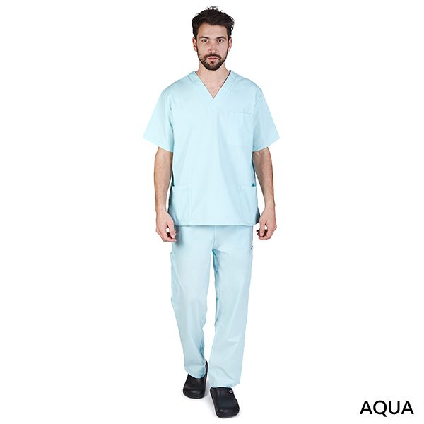 A photo of aqua unisex cargo solid v-neck scrub sets