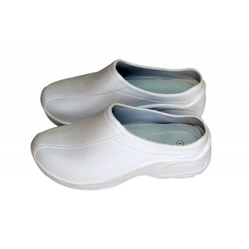 A photo of white strapless ultralight clogs