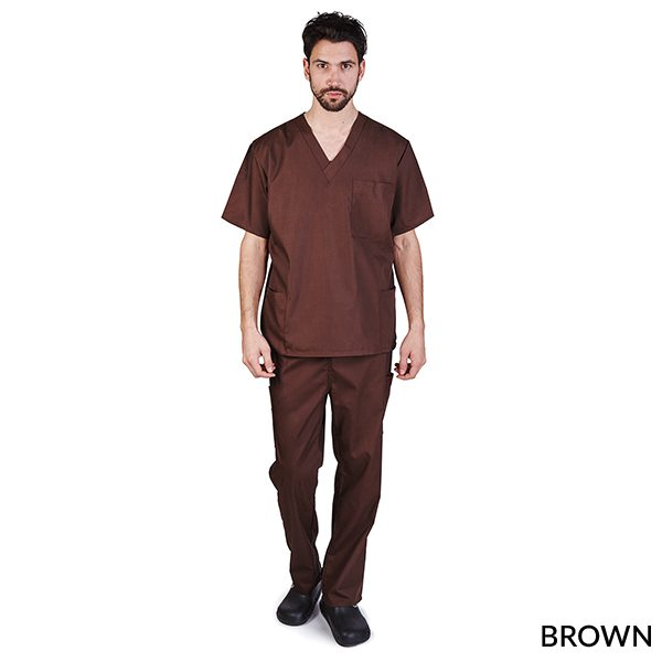 A photo of brown unisex cargo solid v-neck scrub sets
