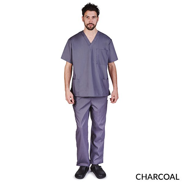 A photo of charcoal unisex cargo solid v-neck scrub sets