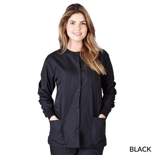 A photo of black unisex warm-up jacket
