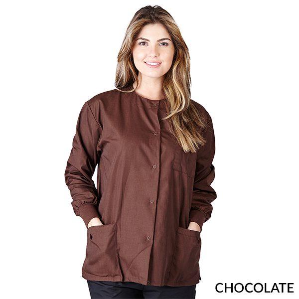 A photo of chocolate unisex warm-up jacket