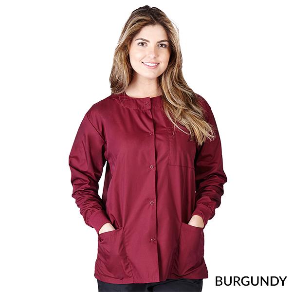 A photo of burgundy unisex warm-up jacket