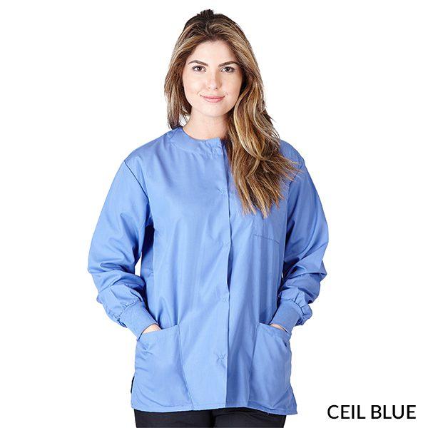 A photo of ceil blue unisex warm-up jacket