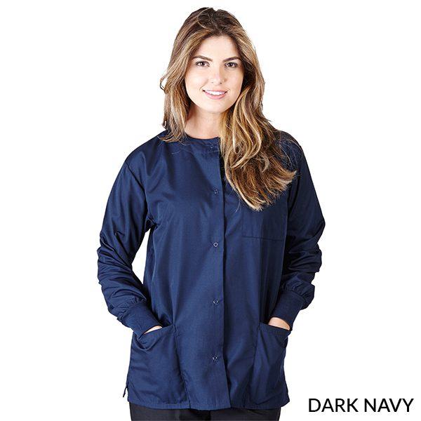 A photo of dark navy unisex warm-up jacket