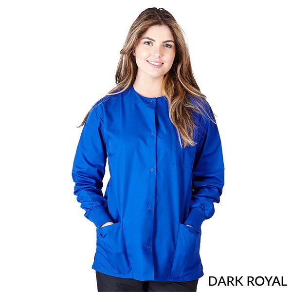 A photo of dark royal unisex warm-up jacket