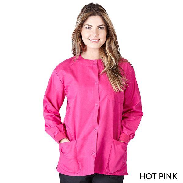 A photo of hot pink unisex warm-up jacket