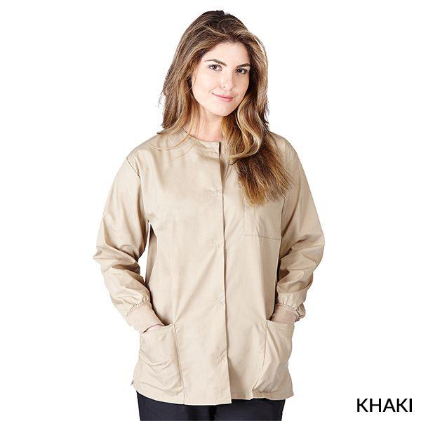 A photo of khaki unisex warm-up jacket