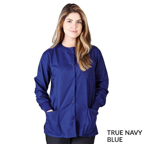 A photo of true navy blue unisex warm-up jacket