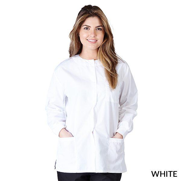 A photo of white unisex warm-up jacket