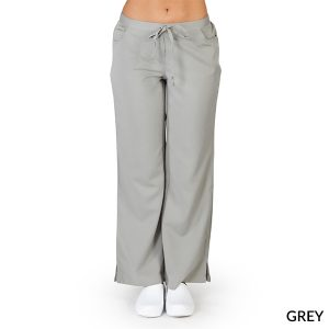 A photo of grey ultra soft 5 pockets fashion scrub pants