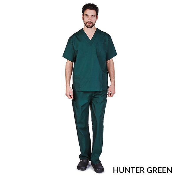 A photo of hunter green unisex cargo solid v-neck scrub sets