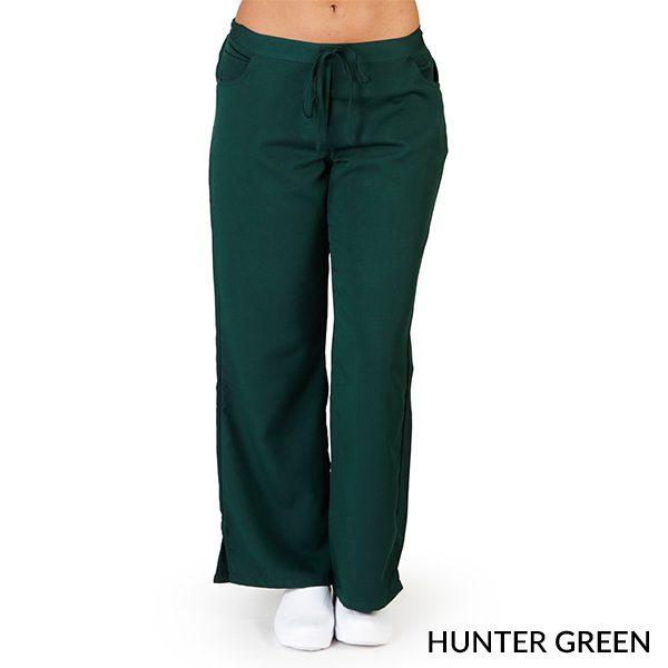 A photo of hunter green ultra soft 5 pockets fashion scrub pants