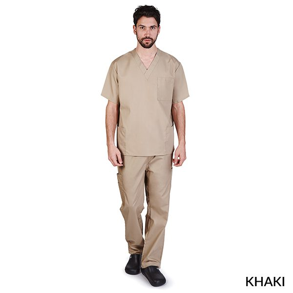 A photo of khaki unisex cargo solid v-neck scrub sets