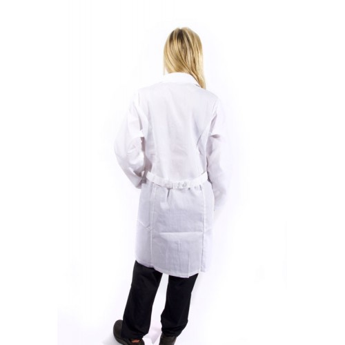 A photo of white unisex lab coat (back)