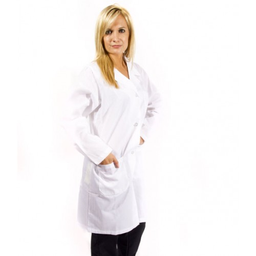 A photo of white unisex lab coat (side)