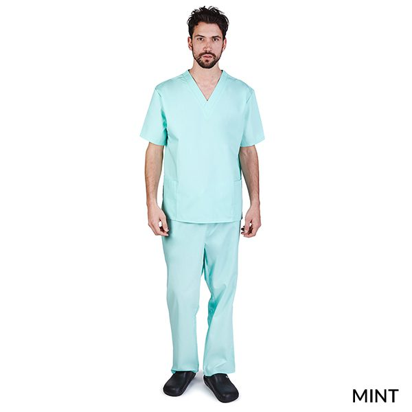 A photo of mint unisex cargo solid v-neck scrub sets