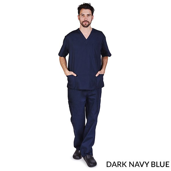 A photo of dark navy blue unisex cargo solid v-neck scrub sets