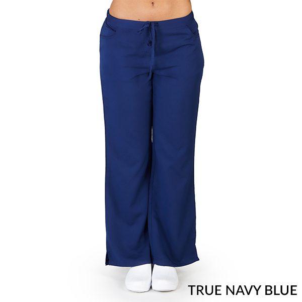 A photo of true navy blue ultra soft 5 pockets fashion scrub pants