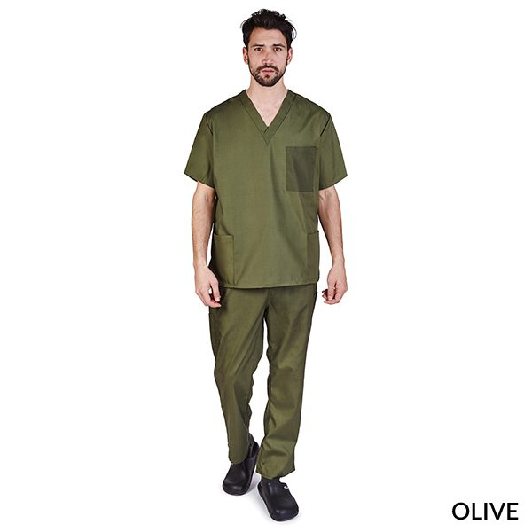 A photo of olive unisex cargo solid v-neck scrub sets