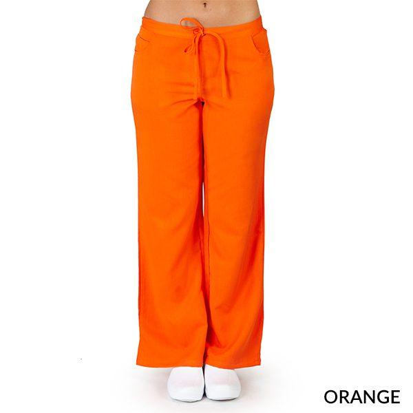 A photo of orange ultra soft 5 pockets fashion scrub pants