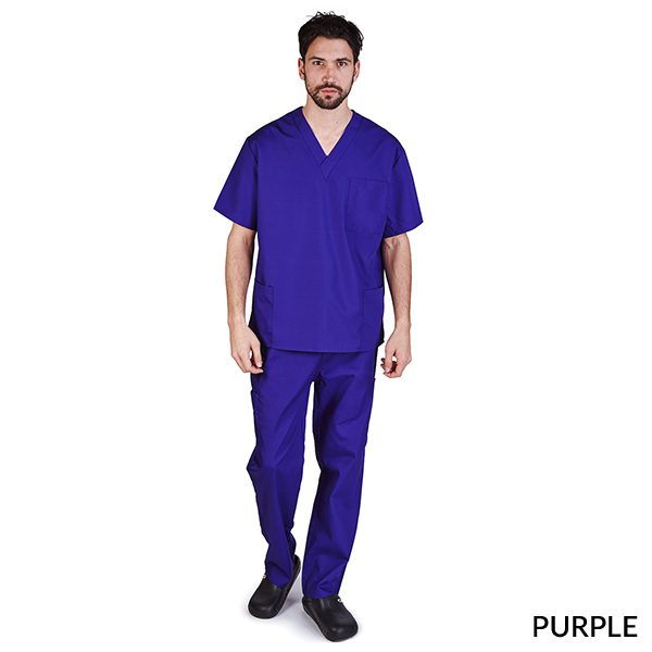 A photo of purple unisex cargo solid v-neck scrub sets