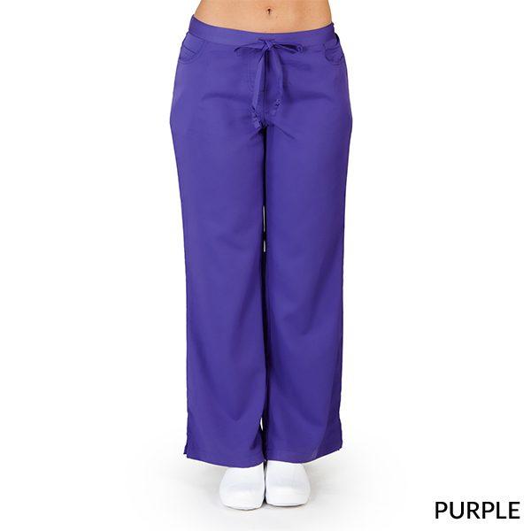 A photo of purple ultra soft 5 pockets fashion scrub pants