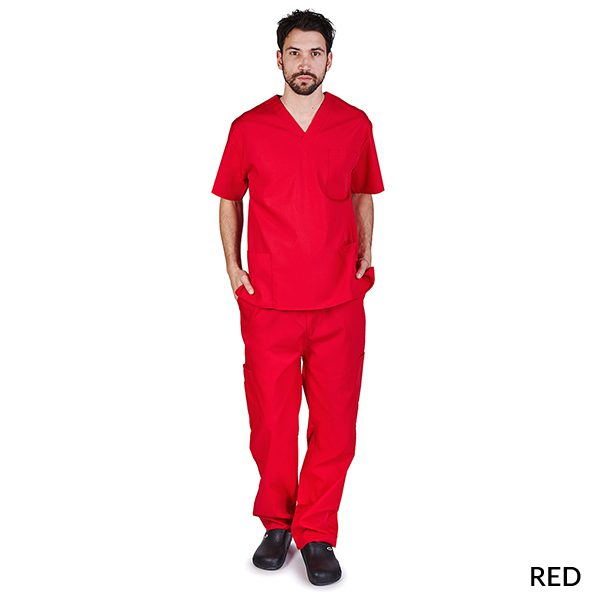 A photo of red unisex cargo solid v-neck scrub sets
