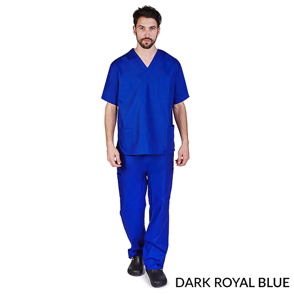 A photo of dark royal blue unisex cargo solid v-neck scrub sets