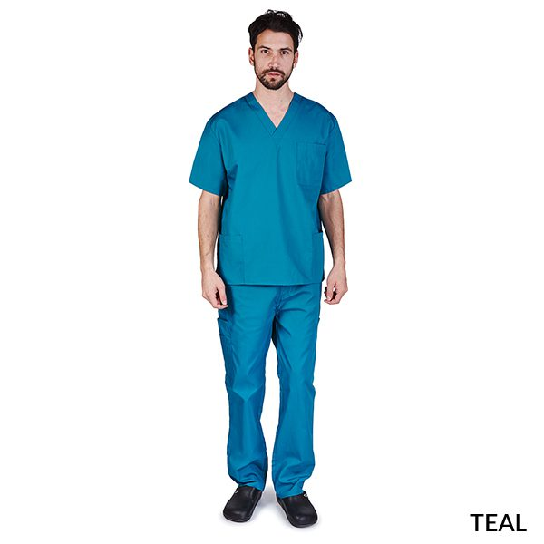 A photo of teal unisex cargo solid v-neck scrub sets