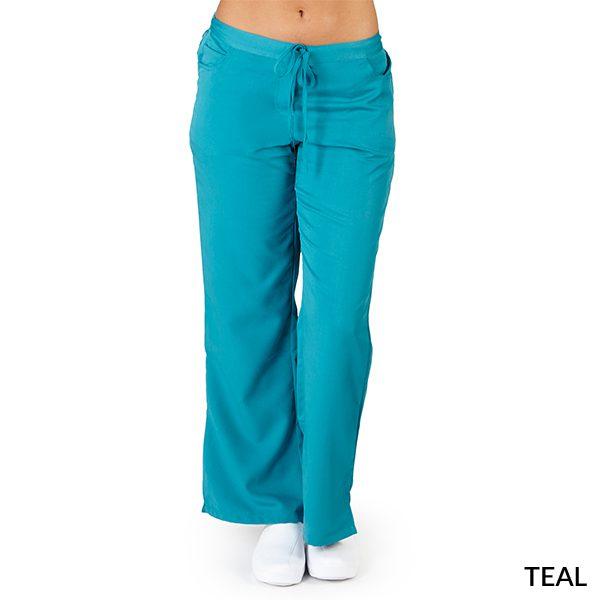 A photo of teal ultra soft 5 pockets fashion scrub pants