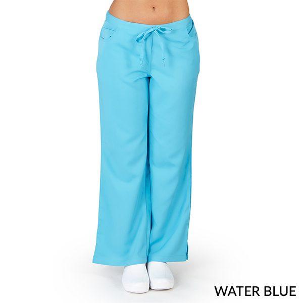 A photo of water blue ultra soft 5 pockets fashion scrub pants