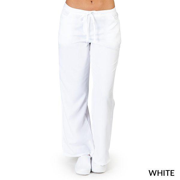 A photo of white ultra soft 5 pockets fashion scrub pants