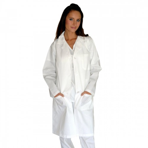 A photo of white unisex lab coat (front)