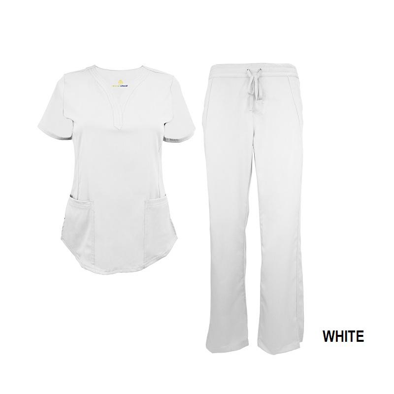 White-Womens-Drawstring-Scrub-Pant-Shirt-Set-Strect-Soft-Modern-Fit-2-Pocket-3