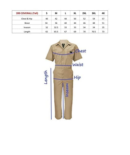 Wholesale Coveralls Size Chart