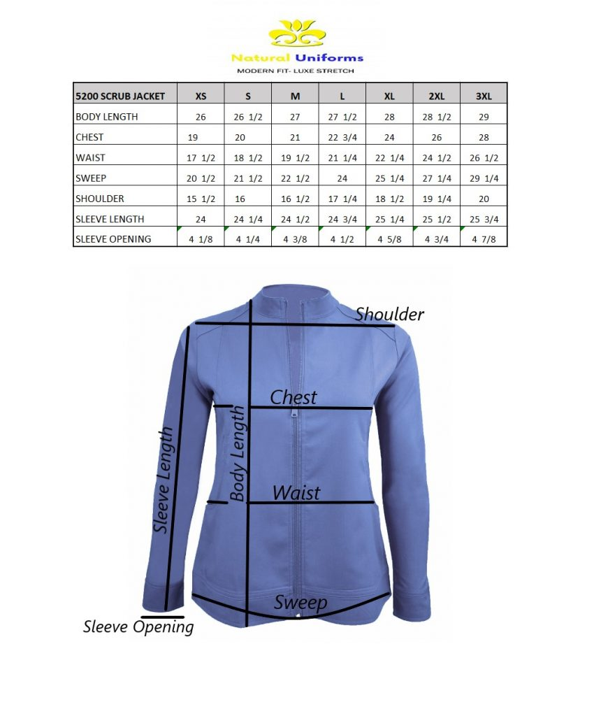 Scrubs Jacket Size Chart