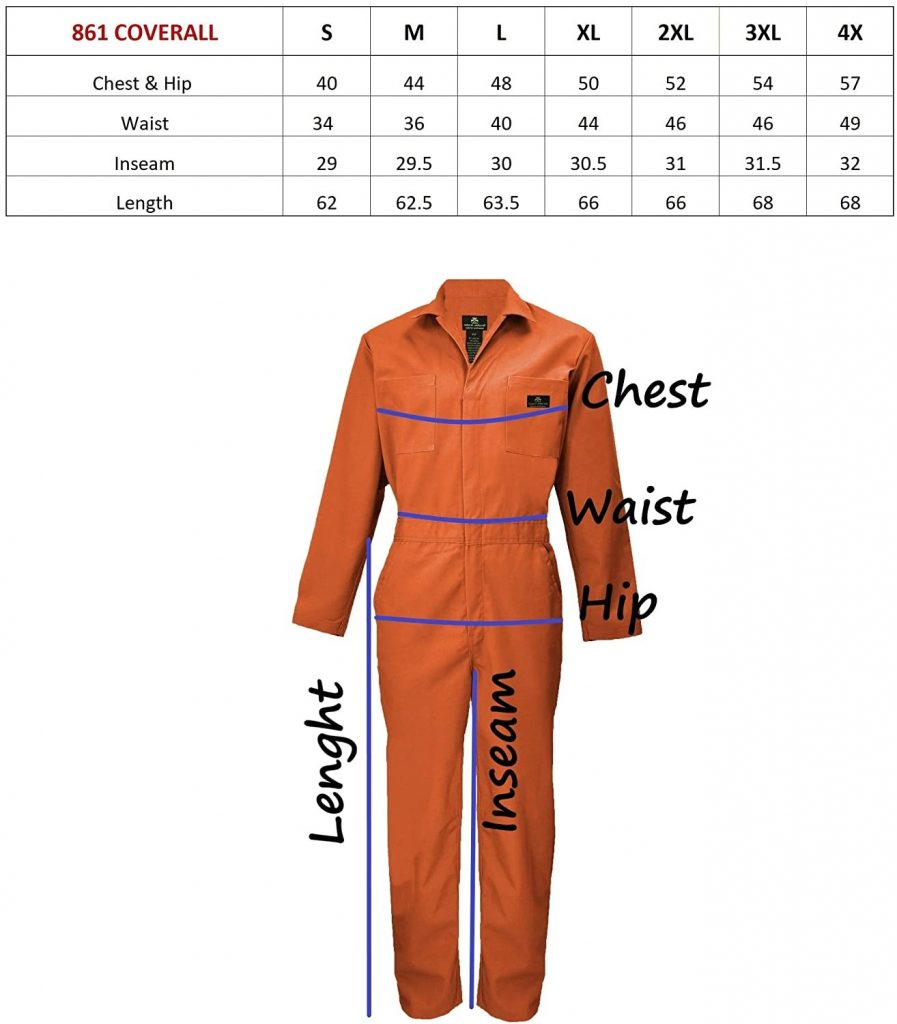 Long Sleeve Coverall Size Chart
