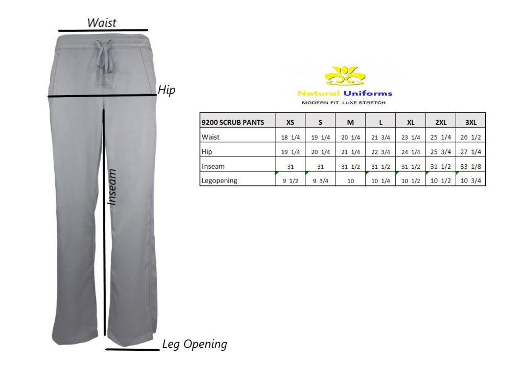 Scrub pant size chart