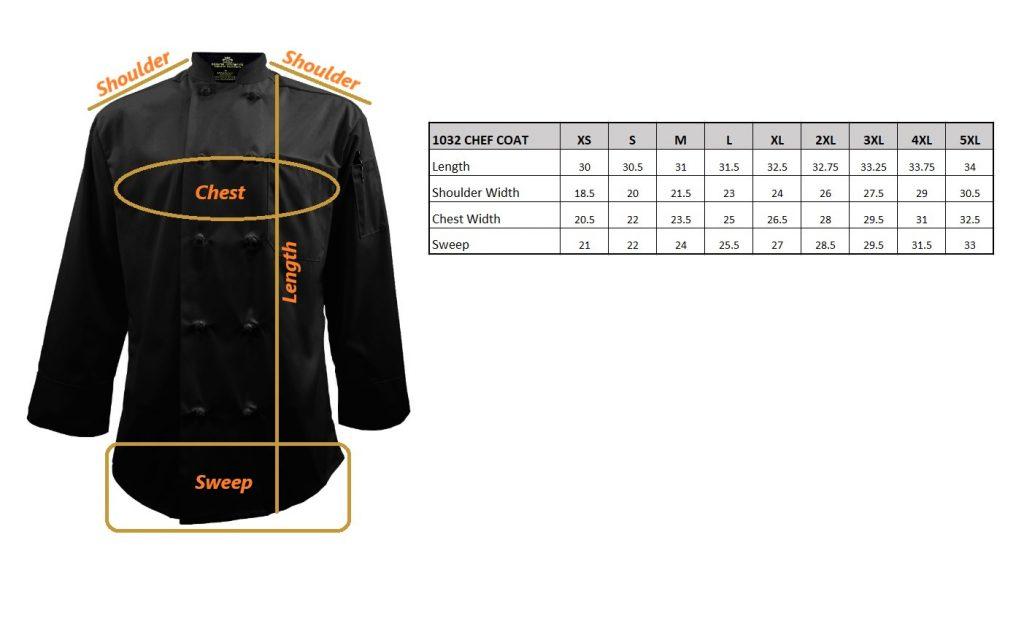 Black Chef Coat Size Chart